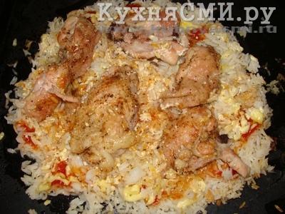 приготовить в духовке рис с курицей
