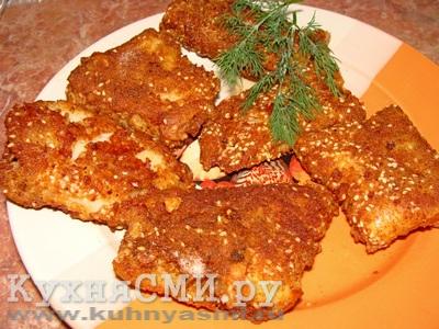 Рыба с сыром в кунжутной панировке